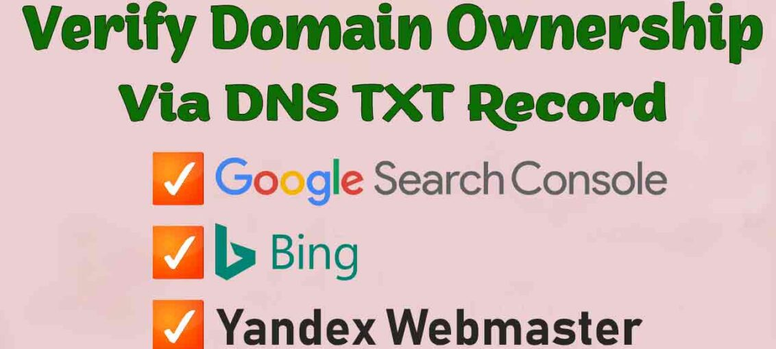 Verify Domain Ownership Via DNS TXT Record Google Search Console