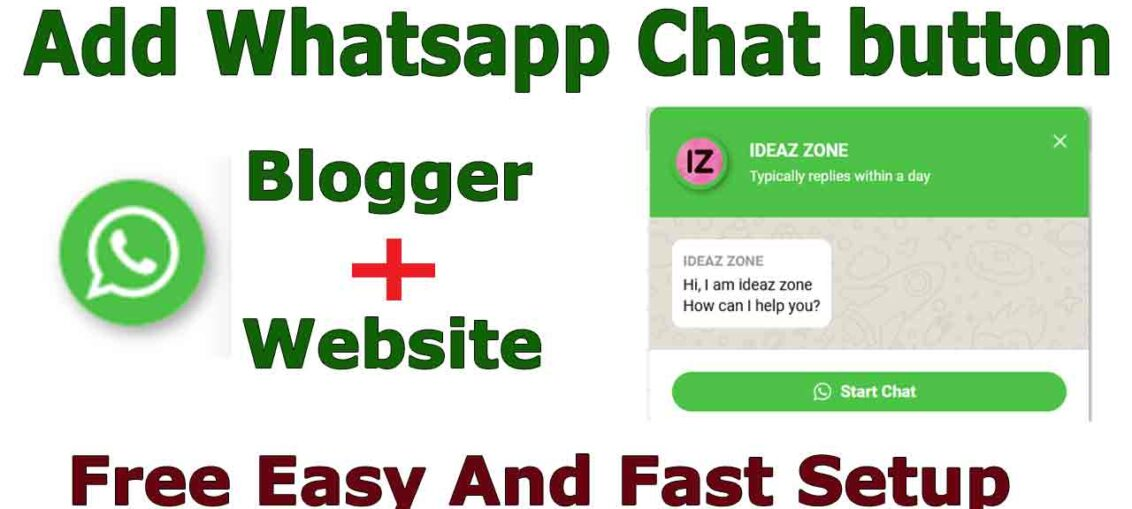 Add Whatsapp Chat button To Blogger And Website